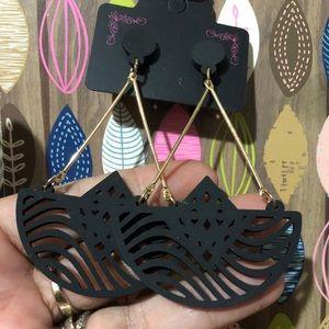 Black I& Gold Fashion Danglers gorgeous! See Pics!